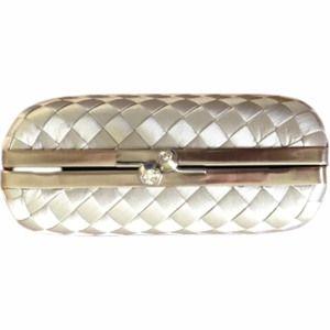 Franchi Silver Woven Clutch w/ Chain